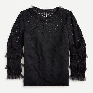 J CREW NWT BLACK LACE & TULLE PULLOVER TOP SZ S
